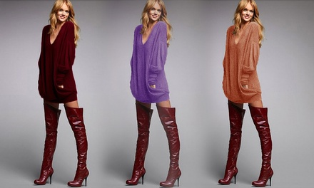 Women's VNeck LongSleeved Knitted Tunic: One $18 or Two $28