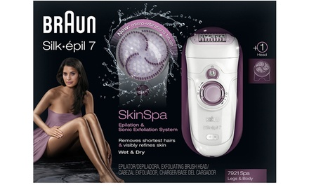 Braun Silk épil 7921 Skin Spa Wet and Dry Cordless Epilator with Optional Extra Shaver Plug With Free Delivery