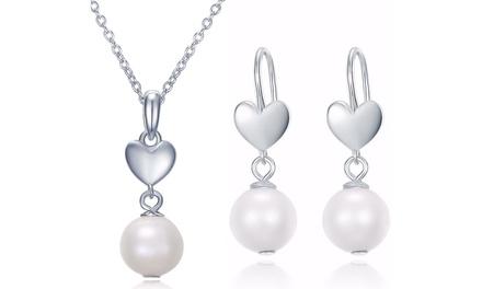 Sreema London Schmuck-Set  Halskettemit Anhänger und Ohrringe mit Zirkonen und Perlen in Silber oder Rosa