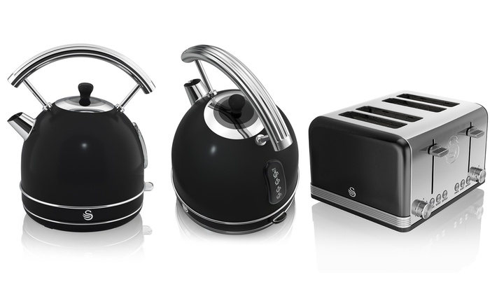 swan retro dome kettle and toaster groupon goods. Black Bedroom Furniture Sets. Home Design Ideas