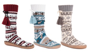 Muk Luks Women's Tall Slipper Socks