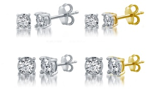 1/10–1 CTTW Diamond Stud Earrings in Silver or Gold Plating By DeCarat