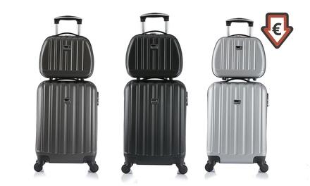 Bluestar 2-teiliges Trolley-Set  Reisekoffer und Kosmetikkoffer aus ABS-Kunststoff in der Farbe nach Wahl
