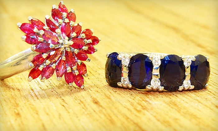 Silvia Jewelry - Multiple Locations: $99 for a Custom-Fit, Star-Shaped or Flat Sterling-Silver Ring with Rubies or Sapphires at Silvia Jewelry ($198 Value)