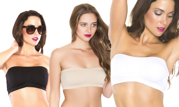 Black Fuchsia Seamless and Soft Cup Bandeau Bra: Black Fuchsia Seamless and Soft Cup Bandeau Bra. Multiple Options Available.