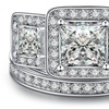 4 CTTW Tri-Stone Princess Cut Ring and Band Set