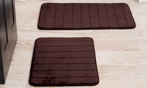 2-Piece Striped Memory Foam Bath Mat Sets