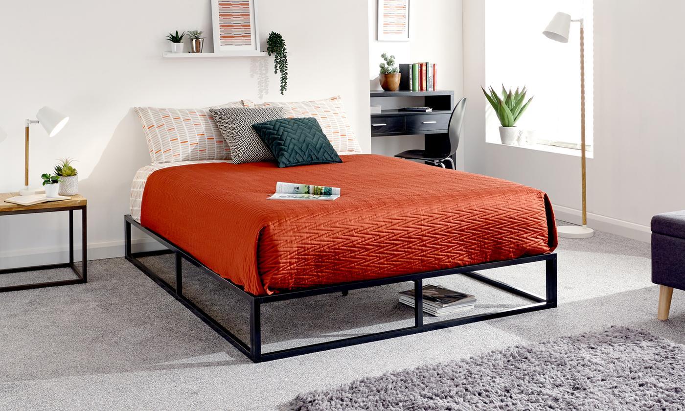 Industrial Platform Bed Frame with Optional Mattress