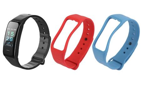 Groupon DE TimeTech Unisex Fitness Tracker in Schwarz, optional mit blauem oder rotem Band
