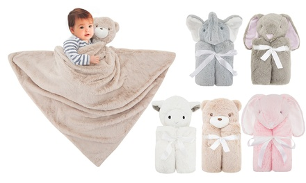 Couverture douce pour enfant avec peluche 2 en 1
