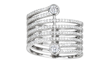 1.50 CTTW Round Cubic Zirconia Twisted Sparkle Ring