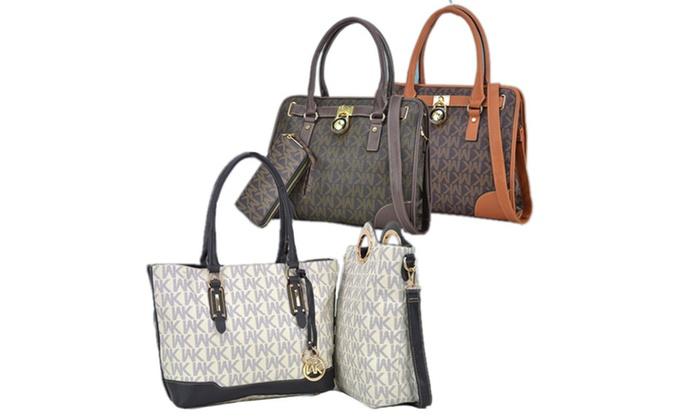 bfaf641e2d WK Collection Satchel Handbag with Wallet or 2-in-1 Monogram Tote ...