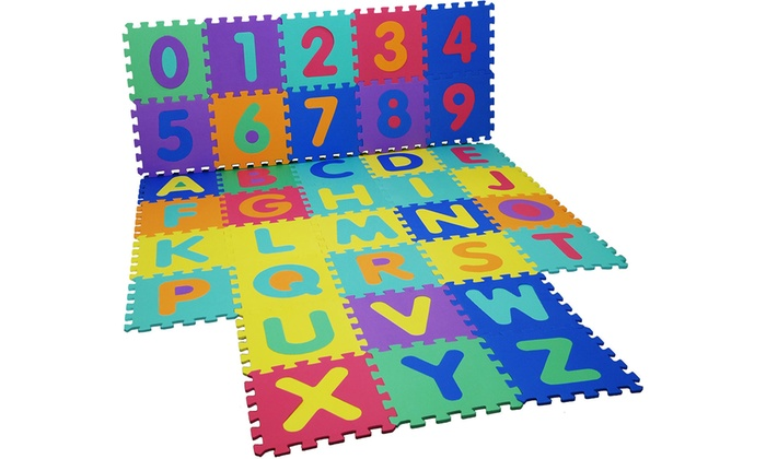 One or Two 36-Piece Alphabet and Numbers Foam Puzzle Play Mats