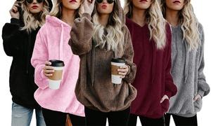 (Mode)  Sweat femme polaire avec capuche -63% réduction