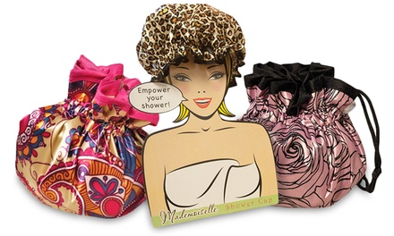 Mademoiselle Designer Shower Cap with Matching Drawstring Pouch