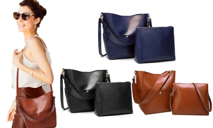 2 borse in pelle da donna Twins, disponibili in 5 colori