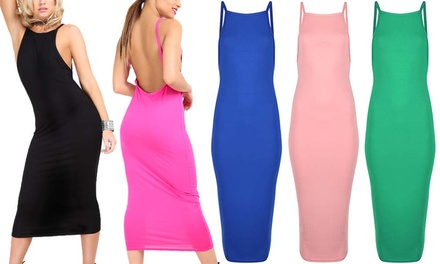 Be Jealous Scoop Back Jersey Midi Dress in Choice of Colour