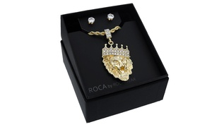 Rocawear Men's Lion with Crown Necklace and Earrings Set (3-Piece)