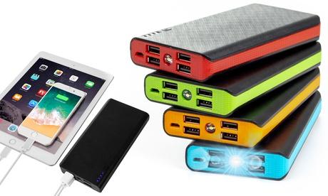 1 o 2 power-Bank da 20000 mAh con 4 slot USB di ricarica disponibili in 5 colori