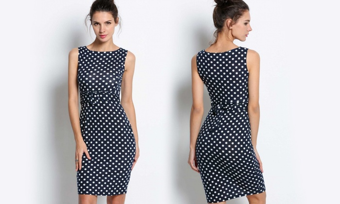 a703abd1c100e8 Dames Sensuele Polka Dot jurk met riem in 5 maten