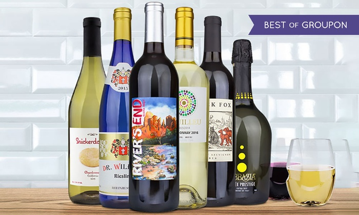 Heartwood & Oak: Six Bottles of Warm Weather Wine with Two govino Glasses from Heartwood & Oak (61% Off)