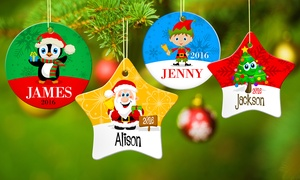Dinkleboo: 1, 4, 7, 10, or 15 Custom Porcelain Holiday Ornaments from Dinkleboo (Up to 75% Off)