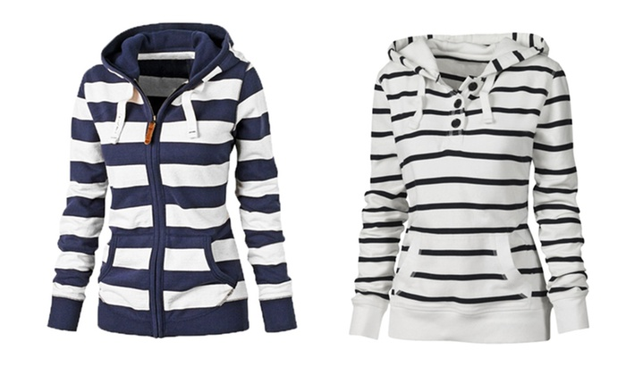 Sweat Femme Marinière à Capuche Groupon Shopping