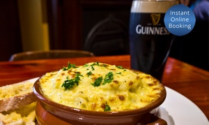 The Irish Times: Irish Lunch or Dinner with Drinks for Two ($39), Four ($75) or Six People ($110) at The Irish Times (Up to $264 Value)