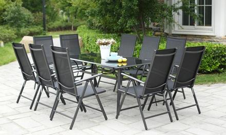 Ensemble table alu/verre avec 6, 8 ou 10 fauteuils inclinables