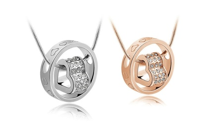 groupon daily deal - Florence Scovel Forever Heart Pendant in Yellow or White Gold. Free Returns.