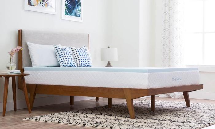linenspa 2 gel infused memory foam mattress topper groupon. Black Bedroom Furniture Sets. Home Design Ideas