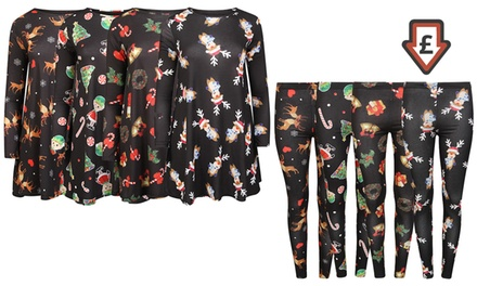 Women's ChristmasThemed Leggings or Swing Dress from £4.99