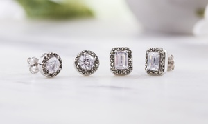 Cubic Zirconia and Marcasite Stud Earring Set in Sterling Silver