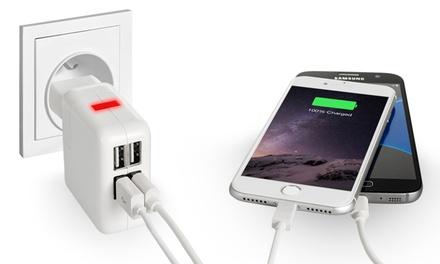 Caricabatterie con cavi micro USB e cavi compatibili lightning®