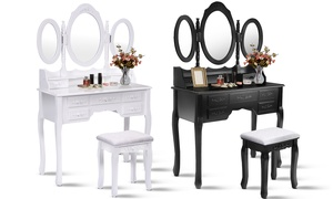 Tri-Folding Oval Mirror Vanity Table with Stool