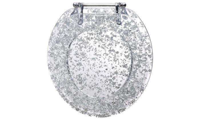 white sparkle toilet seat. Show Me the Silver Heavy Duty Resin Toilet Seat  Groupon