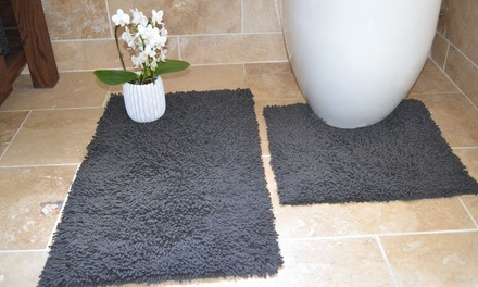 Rapport Home Bath and Pedestal Mat Set in Choice of Colour