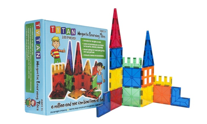 Magnetic Building Tiles for Kids - 100 Piece Set w/ Wheeled Cart