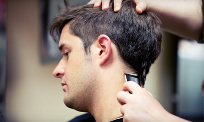 Hollywood Edge - Mooresville: One, Three, or Five Men's Haircuts with Drinks or a Men's Haircut Package with a Drink at Hollywood Edge (Up to 55% Off)