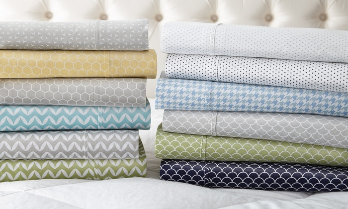 Merit Linens Premium Printed Bed Sheet Sets (4 Piece) ...