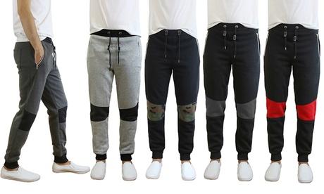 Men's Fleece Lined Moto Joggers with Zipper Pockets