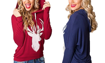 Women's Reindeer Hooded Jumper for £8.99