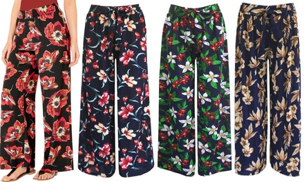 Tie Waist Floral Print Palazzo Trousers