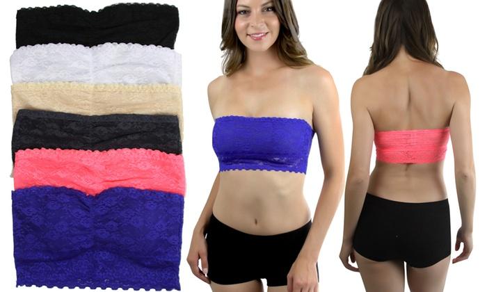 Women's Double-Layer Sheer-Back Tube Bras (6-Pack)