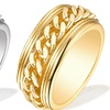 Rolling Chain Rings in 18K Gold Plated Brass