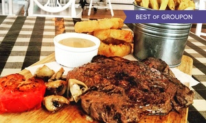 The Hotplate Nosery: Man v Food Steak Challenge With Trimmings For Two or Four from £32 at The Hotplate Noshery (40% Off)