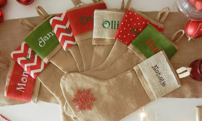 custom embroidered burlap christmas stockings