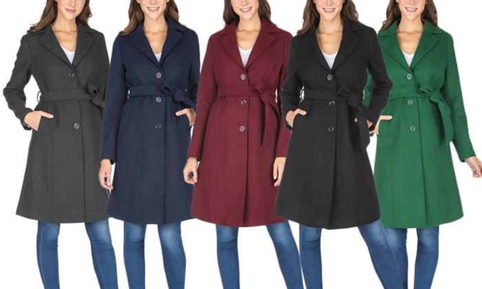 Up To 87% Off on Women's Wool-Blend Walker Coat | Groupon Goods