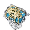 18K Gold Plated Turquoise Filigree Statement Ring
