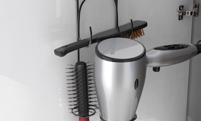 Hair Dryer Holder Over The Cabinet Hanging Caddy Bathroom Styling Rack ...
